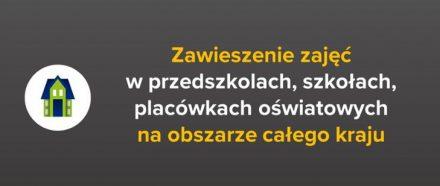 Zawieszenie zajęć dydaktyczno-wychowawczych w przedszkolach, szkołach i placówkach oświatowych